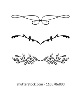 design element vector, beautiful fancy curls and swirls divider or underline design with ivy vines and leaves in black ink lines. Can be placed on any color. Wedding design element.