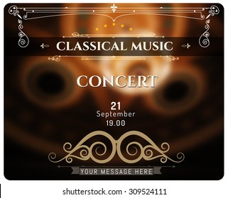 Design Element in Vintage Style for Logotype, Label, Badge, signboard. Template typographic posters music concert.