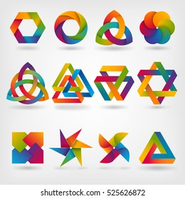 design elements. abstract symbol set in rainbow colors. vector illustration - eps 10