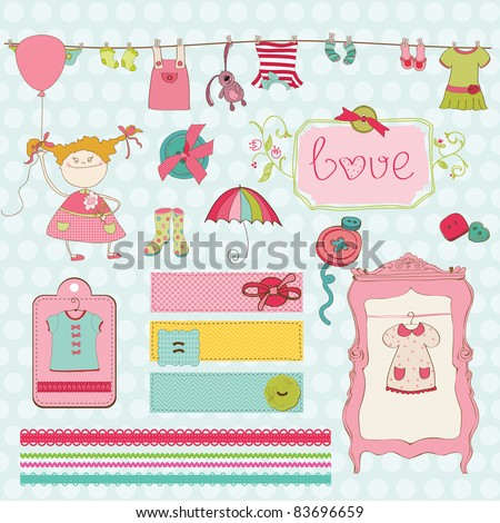 Design Elements Baby Scrapbook Cute Girl Stock Vector Royalty Free