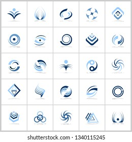 Design elements in blue colors. Abstract icons set. Vector art.