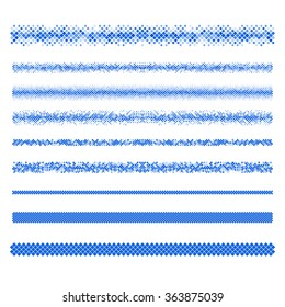 Design elements - blue pixel text divider line set