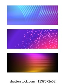 Design elements business presentation template. Set horizontal banners background, backdrop glow light effect. Vector illustration EPS 10 for web buttons template