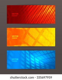 Design elements business presentation template. Vector illustration horizontal web banners background, backdrop glow light effect . EPS 10 for web buttons template, web site page presentation