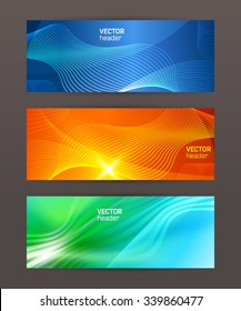 Design elements business presentation template. Vector illustration set horizontal web banners background, backdrop glow light effect . EPS 10 for web buttons template, web site page presentation