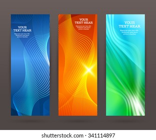 Design elements business presentation template. Vector illustration set vertical web banners background, backdrop glow light effect . EPS 10 for web buttons template, web site page presentation