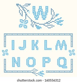 Design elements for cross-stitch embroidery. Blue colors, vector illustration. Floral branch and one letter. Letters I-Q.