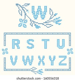 Design elements for cross-stitch embroidery. Blue colors, vector illustration. Floral branch and one letter. Letters R-Z.