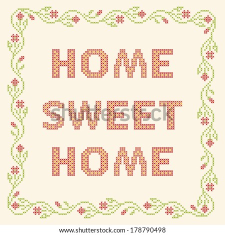 Design Elements Crossstitch Embroidery Home Sweet Stock Vector