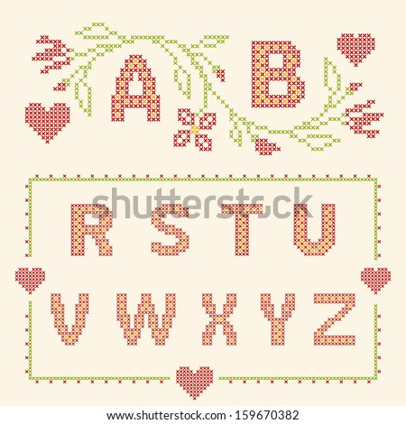 a03ab1d5101 Design Elements Crossstitch Embroidery Red Green Stock Vector ...