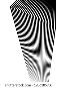 Design elements. Curved sharp corners many streak. Abstract vertical broken stripes on white background isolated. Creative band art. Vector illustration EPS 10. Black lines created using Blend Tool