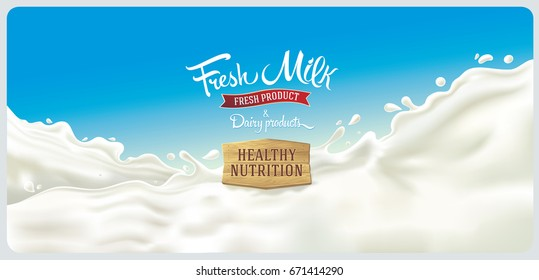 Design elements of dairy products - splash of milk, with a set of inscription.