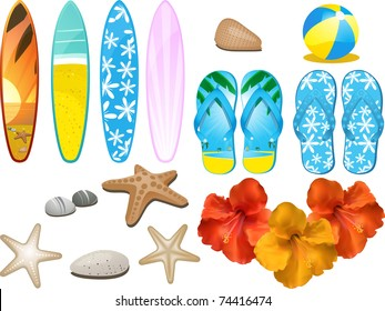 Design elements with flip flops, surfboards, hibiscus flower and other beach related objects