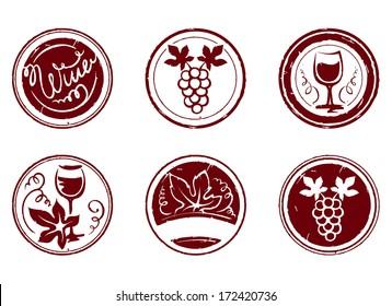 Design elements - grape stamps