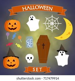 Design elements of halloween. Flat halloween characters. Vector illustration