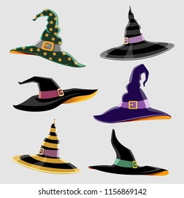 Design Elements for Halloween. Halloween symbol. Witch Hat. Hats of the wizard