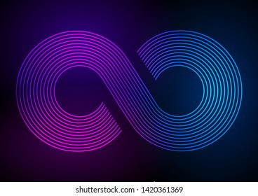 Design elements. Infinity sign color spectrum. Rainbow gradient in the shape of the infinity symbol. Eight sign colorful gradient. Vector illustration EPS 10 digital for promotion new product