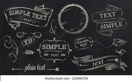 Design elements label, decoration, ribbon, arrow drawing with chalk on black background