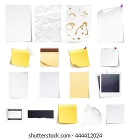 Design elements Notebook, simple white paper, grungy torn paper, lined and squared notepad pages, photo frame, news paper cut and sticky notes isolated on white background.