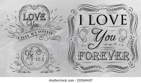 Design elements on love themes drawing with coal on grey background