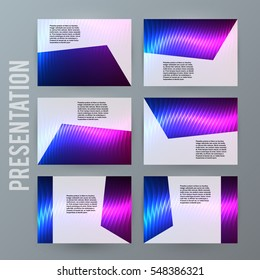 Design elements presentation template. Set horizontal banners background neon northern light glow  effect. Vector illustration EPS for brochure template, business card layout, flyer cover page mockup