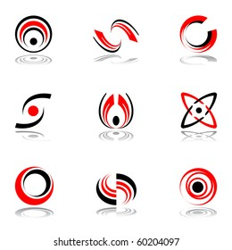 Design elements in red-and-black  colors #4. Vector illustration.