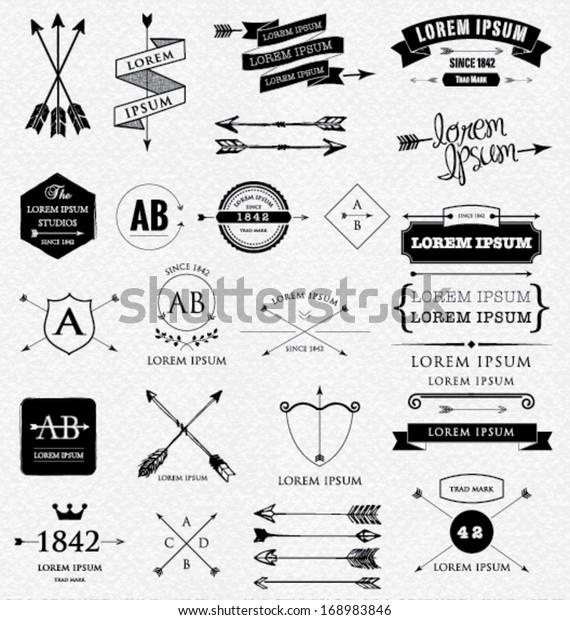 Design elements. Retro style. arrows, labels, ribbons, symbols such as logos. Editable vector illustration file.