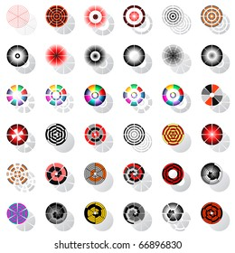 Design elements with rotation. Vector set.