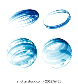 Design elements set in blue colors icons.  Vector. EPS 10.