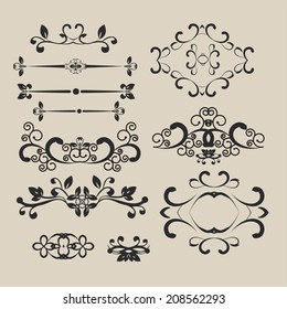 design elements set calligraphy in style baroque