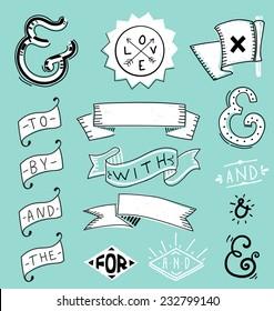 Design elements set and catchwords