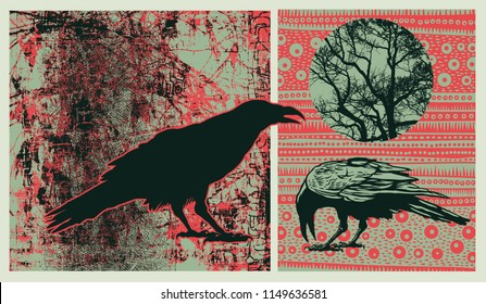 Design Elements Set With Ravens, Silhouette Of Tree And Decorative Backgraunds. Vector Illustration