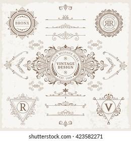 Design elements set. Vector calligraphic logo template. Luxury retro label. Vintage monogram.