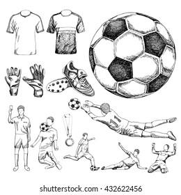 Design elements of soccer. Doodle illustration eps10