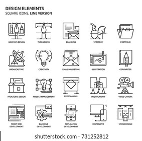 Design elements, square icon set. The illustrations are a vector, editable stroke, thirty-two by thirty-two matrix grid, pixel perfect files. Crafted with precision and eye for quality.