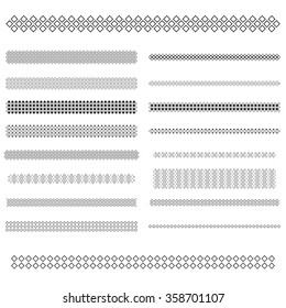 Design elements - square pattern text divider line set