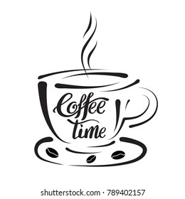 Design elements template for coffee shops and brew bars.Calligraphy style quote with coffee for banner or poster. Vector illustration