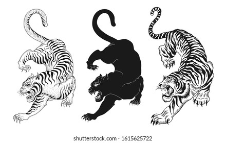 design elements of tiger vector illustrations