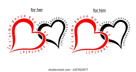Design elements: Two simple hearts with text in French and English - I love you because you are so special