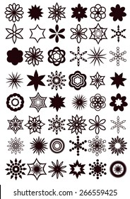 design elements. universal vector collection of abstract flowers or snowflakes