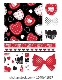 Design elements for valentine themed projects.