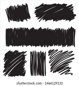 Design elements vector collection of ink or marker squiggle blotches and blobs in black pen strokes isolated on white background and are editable