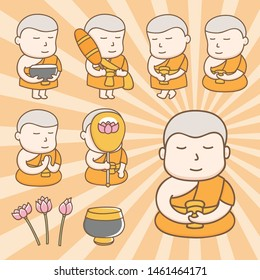 Design elements vector of cute Buddhist monk cartoon characters in action of everyday life activities. Kawaii monk cartoon characters design.