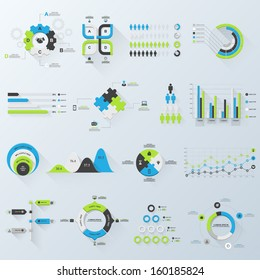 Design elements. Vector illustration of business infographics. Set of 3D infographics with long shadow.