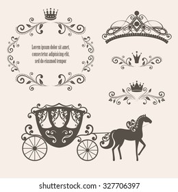 Design elements, vintage royalty frame with crown, ornamental style diadem, carriage in brown color. Vector illustration. Isolated on beige background. Can use for birthday card, wedding invitations.