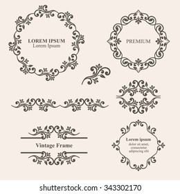 Design Elements Vintage Royalty Frames And Border In Brown Color Vector Illustration Isolated
