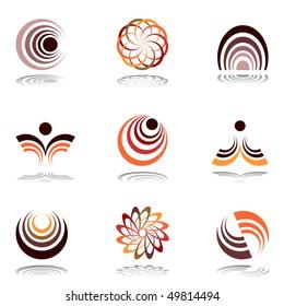 Design elements in warm colors. Set #12. Vector illustration.