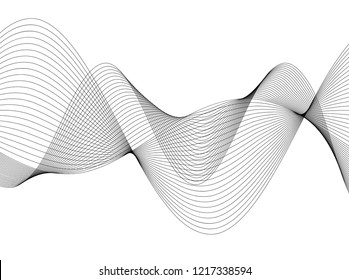 Design elements. Wave of many gray lines. Abstract wavy stripes on white background isolated. Creative line art. Vector illustration EPS 10.