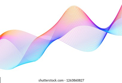 Design elements. Wave of many purple lines circle ring. Abstract vertical wavy stripes on white background isolated. Vector illustration EPS 10. Colourful waves with lines created using Blend Tool