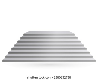 Design elements White stairs realistic illustration design with shadow on transparent background. 3D Stand on isolated clean blank table. Vector illustration EPS 10 for promotional presentation